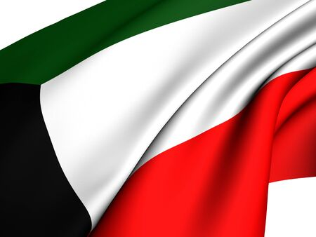 Flag of Kuwait against white background. Close up.  photo