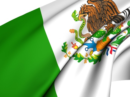 Flag of Mexico against white background. Close up.