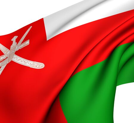Flag of Oman against white background. Close up. Stock Photo - 8557583