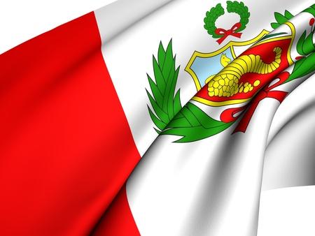 Flag of Peru against white background. Close up.  photo