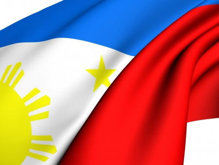 philippines: Flag of Philippines against white background. Close up.