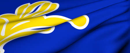 brussels: Flag of Brussels. Close up. Front view.  Stock Photo