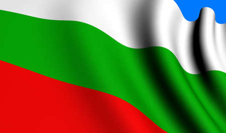 Flag of Bulgaria against blue background. Close up.  Stock Photo - 8578601