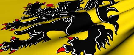 flanders: Flag of Flanders. Close up. Front view.  Stock Photo