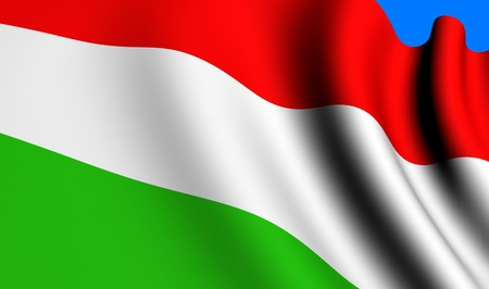 Flag of Hungary against blue background. Close up.  photo