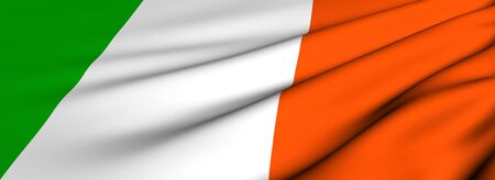 Flag of Ireland. Close up. Front view.  photo