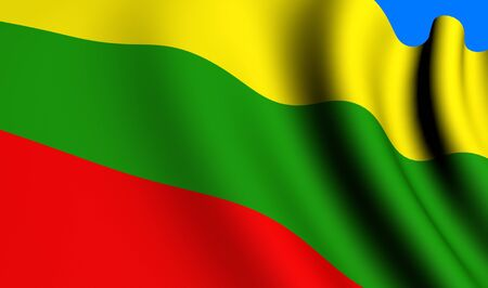 Flag of Lithuania against blue background. Close up.  photo