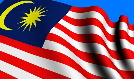 Flag of Malaysia against blue background. Close up.  Stock Photo