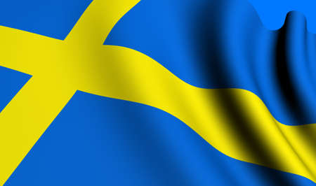 Flag of Sweden against blue background. Close up.  photo