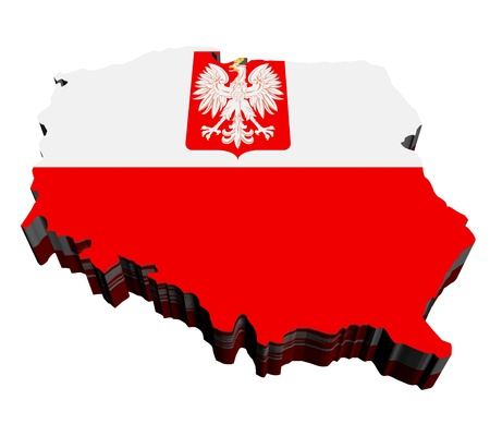 Map of Poland against white background. Close up.  photo
