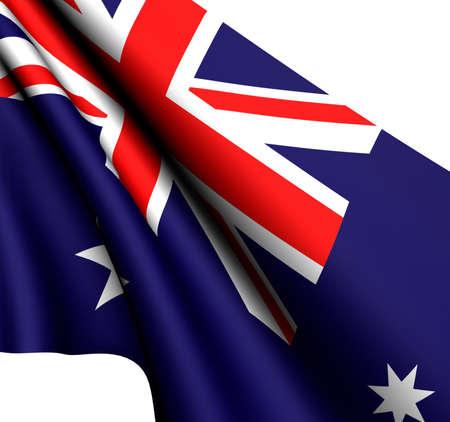 Flag of Australia against white background. Close-up.  photo