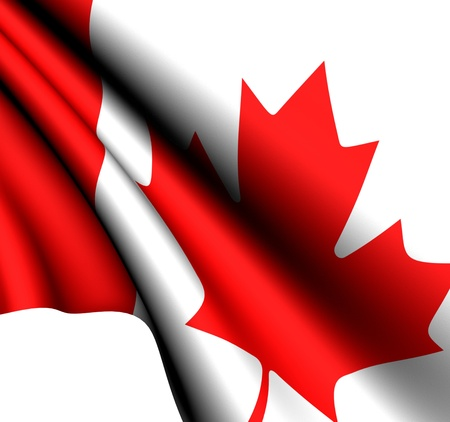 canadian state flag: Flag of Canada against white background. Close up.  Stock Photo
