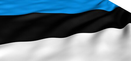 Flag of Estonia against white background. Close up.  photo