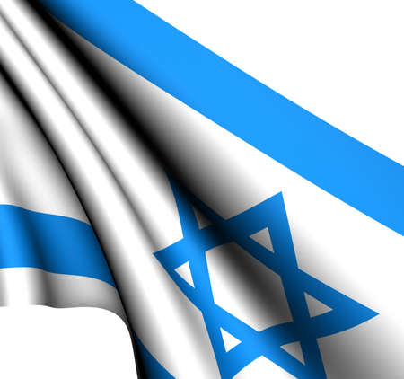 Flag of Israel against white background. Close up. Stock Photo - 8620904
