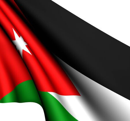 Flag of Jordan against white background. Close up.  photo