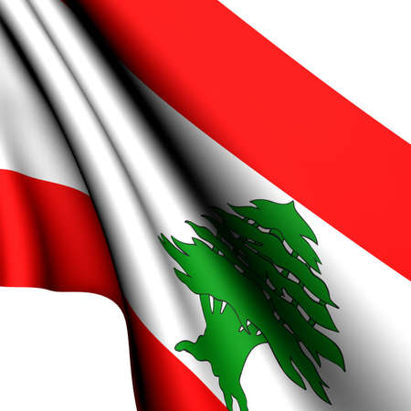 Flag of Lebanon against white background. Close up.  Stock Photo - 8620872
