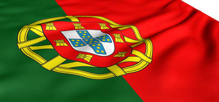Flag of Portugal against white background. Close up.  photo