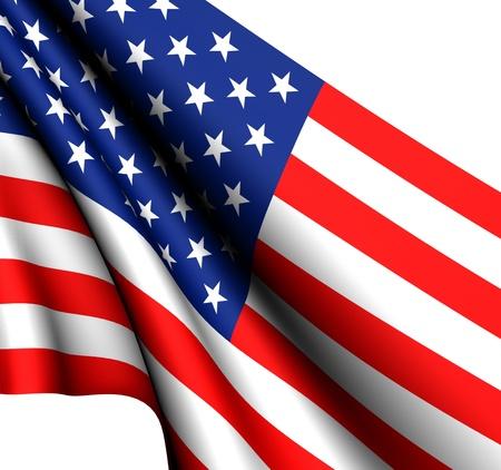 Flag of USA against white background. Close up.  Stockfoto