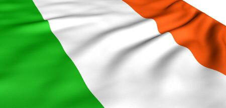 Flag of Ireland against white background. Close up. Stock Photo - 8646923