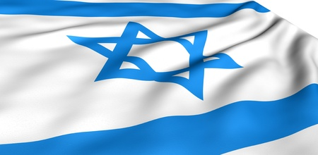 Flag of Israel against white background. Close up. Stock Photo - 8646925