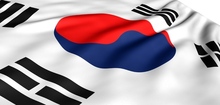 Flag of Korea against white background. Close up.