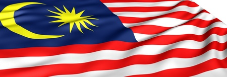 Flag of Malaysia against white background. Close up.  photo