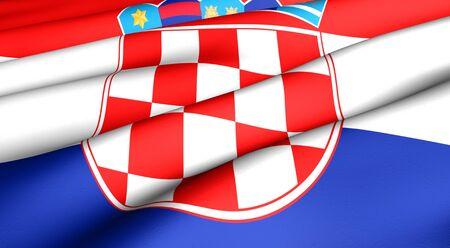 former yugoslavia: Flag of Croatia. Close up. Front view.  Stock Photo