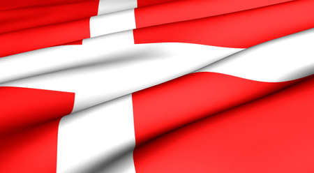 Flag of Denmark. Close up. Front view.  Stock Photo