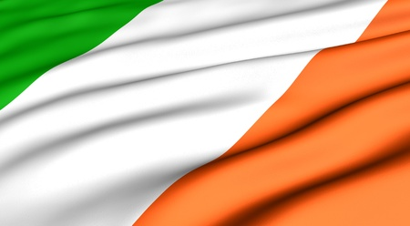 Flag of Ireland. Close up. Front view.