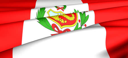 Flag of Peru. Close up. Front view.  photo