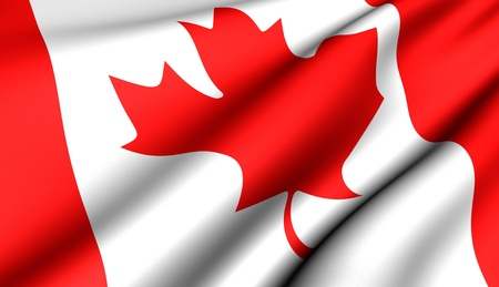 Flag of Canada. Close up. Front view.
