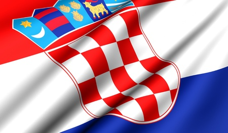 balkan: Flag of Croatia. Close up. Front view.  Stock Photo