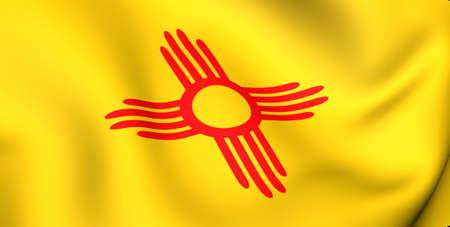 Flag of New Mexico, USA. Close up. 3d photo