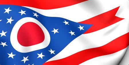 Flag of Ohio, USA. Close up. 3d  photo