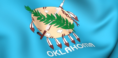 Flag of Oklahoma, USA. Close up. 3d photo