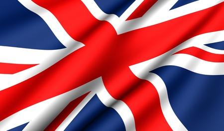 western united states: Flag of UK. Close up. Front view.