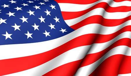 Flag of USA. Close up. Front view.