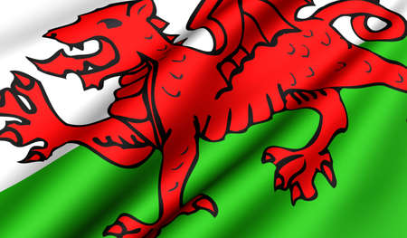 Flag of Wales. Close up. Front view. photo