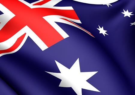 australian: Flag of Australia against white background. Close-up.