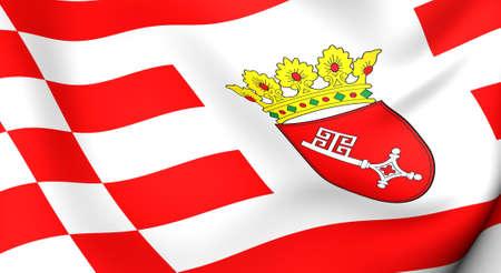 bremen: Flag of Bremen, Germany. Close up. 3d.
