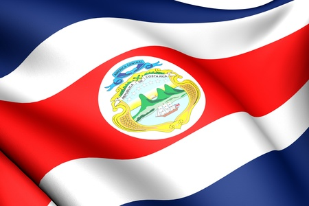 Flag of Costa Rica. Close up. Front view.