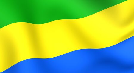 gabon: Flag of Gabon. Close up. Front view.