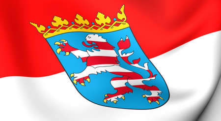 hessen: Flag of Hessen, Germany. Close up. 3d.  Stock Photo