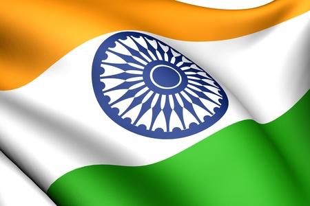 Bandera de la India. Cerrar. Vista frontal.