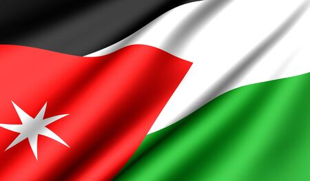 Flag of Jordan. Close up. Front view.  photo