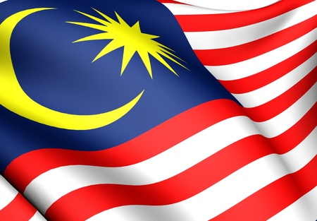 Flag of Malaysia. Close up. Front view.