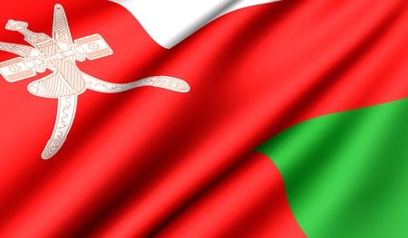 oman background: Flag of Oman. Close up. Front view.