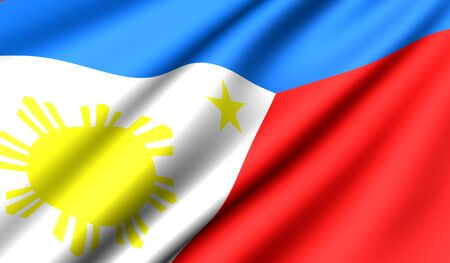 Flag of Philippines. Close up. Front view.  photo