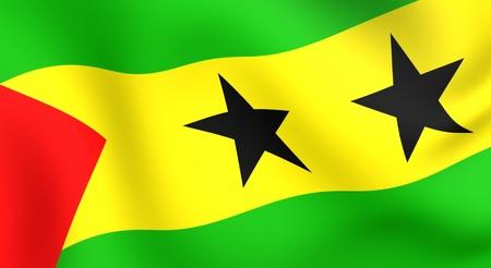 Flag of Sao Tome and Principe. Close up.  Stock Photo - 8754412