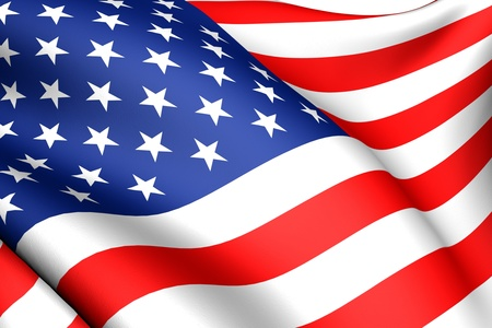 Flag of USA against white background. Close up.  Banque d'images